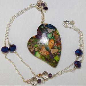 🌈 Rainbow Sea Sediment Jasper heart pendant NEW